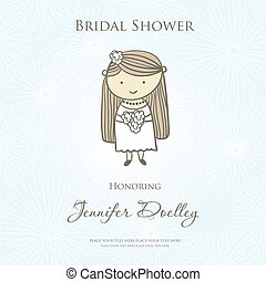 Bridal shower or wedding invitation with cute cartoon bride.