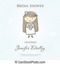 Bridal shower or wedding invitation with cute cartoon bride.