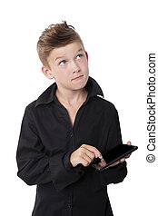 Schoolboy with tablet. - Casual boy with black dress shirt...