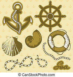 Vintage marine elements set. Includes anchor, rope, wheel, and shells.