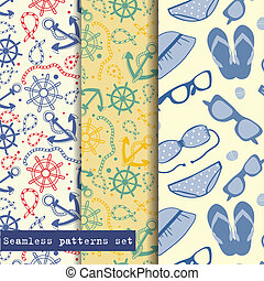 Set of three seamless pattern. Sea and beach theme. Easy...