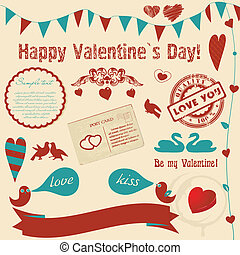 Valentine`s background with retro elements and banners...