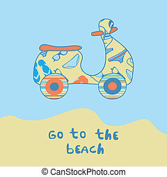 Summer illustration with scooter on the beach side.