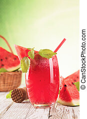 Fresh healthy drink - Fresh harvested water melon mixed into...