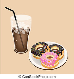 A Delicious Iced Coffee with Glazed Donuts - Coffee Time, A...