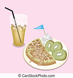 Lemon Iced Tea with Tradition Belgian Waffle - A Glass of...