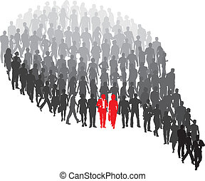 Couple protrude of group - A group of people in the form of...