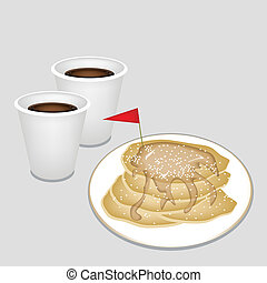 A Hot Coffee in Disposable Cup with Pancakes - Coffee Time,...