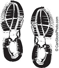 Vector image of shoe prints - Vector images of black shoe...