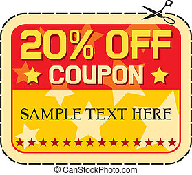 Coupon sale 20%. (twelve percent discount, discount label)