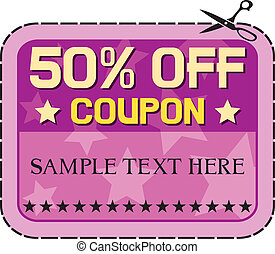 Coupon sale - 50 fifty percent discount, discount label