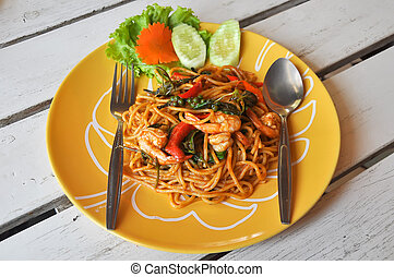 Stir Fried Spicy Spaghetti with Shrimp - Stir-fried spicy...