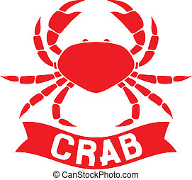 crab label (crab silhouette, crab icon, crab sign, crab...