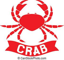 crab label (crab silhouette, crab icon, crab sign, crab...