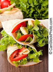 Turkey sandwich with garden vegetables in tortilla