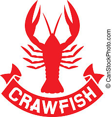 crawfish label (crawfish silhouette, crayfish icon, lobster...