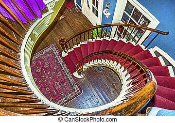 salones, superior, Dormitorios, Escaleras, Espiral