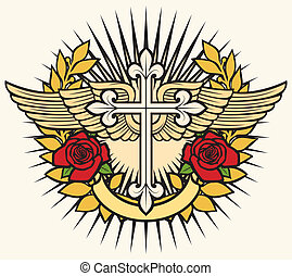 christian cross, wings and roses - illustration of christian...