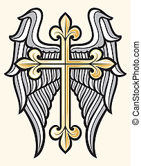 christian cross and wings - vector illustration of christian...