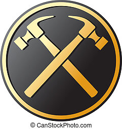 crossed hammer symbol emblem, button