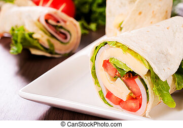 Sandwich wrap - Selective focus on the front sandwich wrap