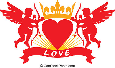 two cupids, heart and crown