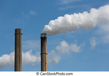 Industrial smoke stacks of a power plant