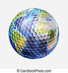 Golf ball isolated on white background, with earth planet...