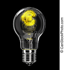 Light bulb with incandescent filament shaped as Euro symbol....