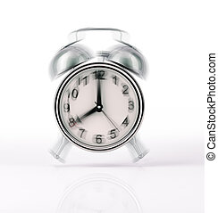 Classic Alarm clock chromed ringing, with movement effect....