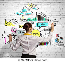 Businesswoman drawing on wall - Businesswoman standing with...