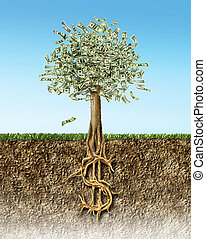 Money tree in soil cross section showing US Dollar sign...