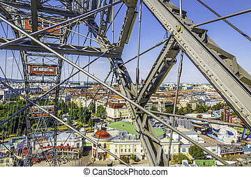 Ferris wheel at the Prater in Vienna, Austria, with the city...