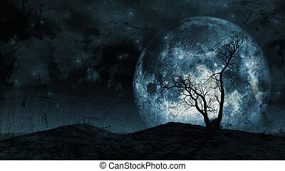 Grunge tree and moon background - Grunge background of a...