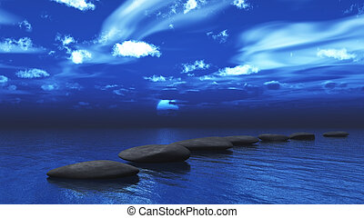 Stepping stones across the ocean - 3D render of stepping...