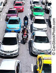 Faster way to transport on road - BANGKOK - AUG 06: two...