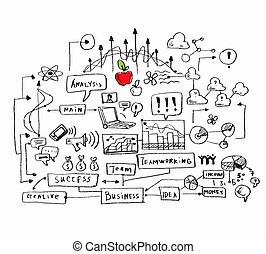 Business colorful sketch - Business ideas sketch image on...