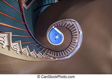 Spiral stairs to upper bedrooms and parlors in the old...
