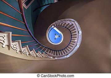 Espiral, Escaleras, superior, Dormitorios, salones