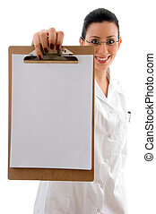 front view of smiling doctor showing writing pad with white...