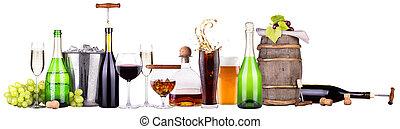 cocktail, differente,  set, bibite, alcolico