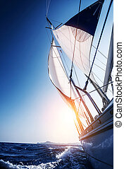 Sail boat in action, summer adventure, luxury water...