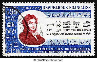 Postage stamp France 1972 Champollion and Rosetta Stone -...