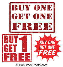 Buy one get one free stamps - Set grunge rubber stamps with...