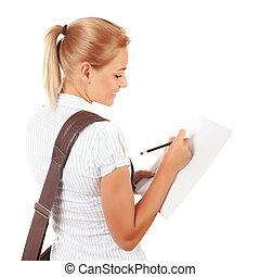 m�dchen, Prüfungen, schueler, schreibende