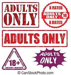 Adults only stamps - Set grunge rubber stamps with text...