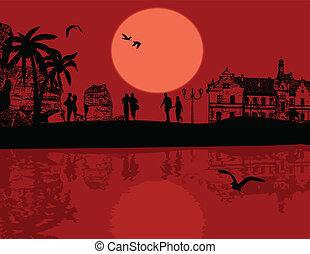 Beautiful landscape and lovers silhouette