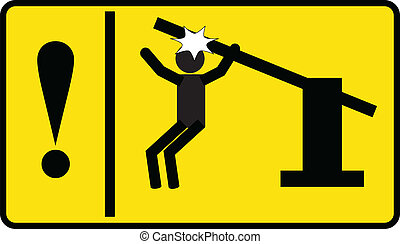 sign - caution automatic portal - simple sign - caution...