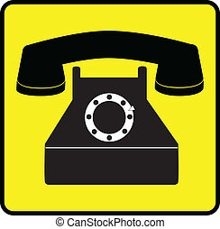 telephone - symbol - simple telephone, with yellow box,...