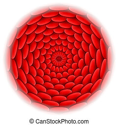 Circle with roof tile pattern in red. - Illustration of roof...